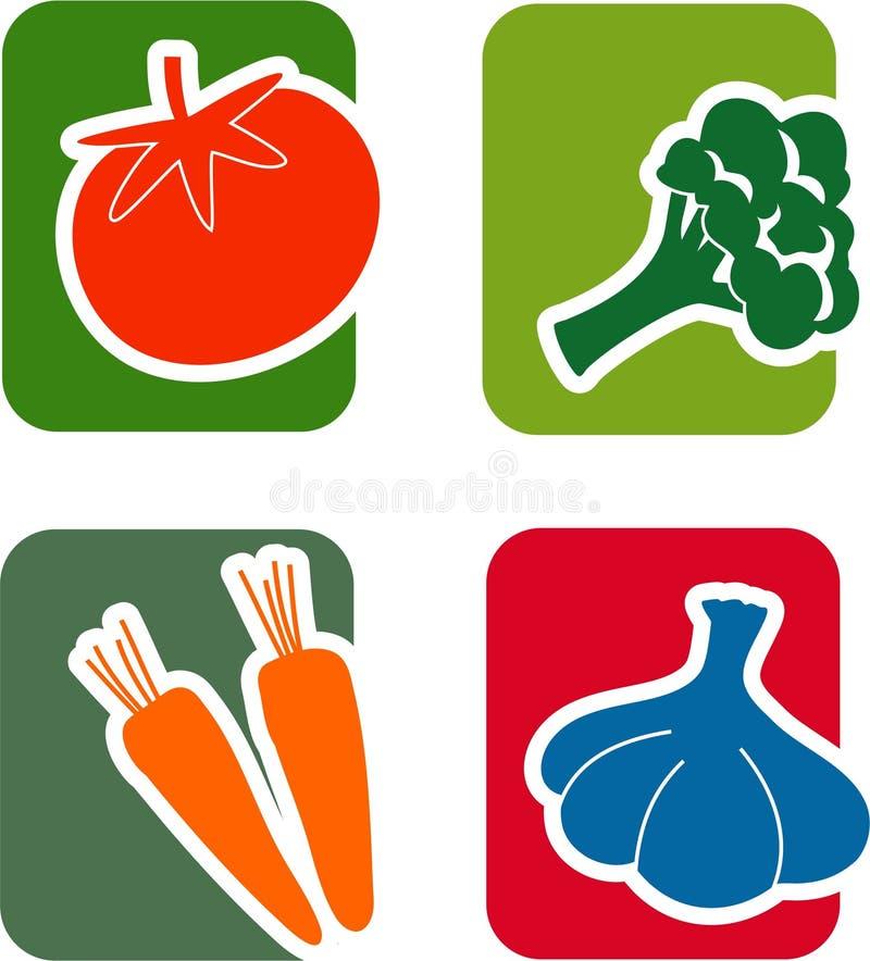 Grönsaksymbolsuppsättning vektor illustrationer