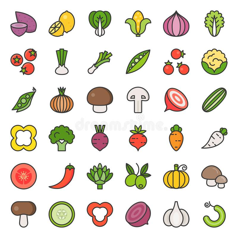 Grönsaksymbolsuppsättning 2/2, fylld översiktssymbol royaltyfri illustrationer