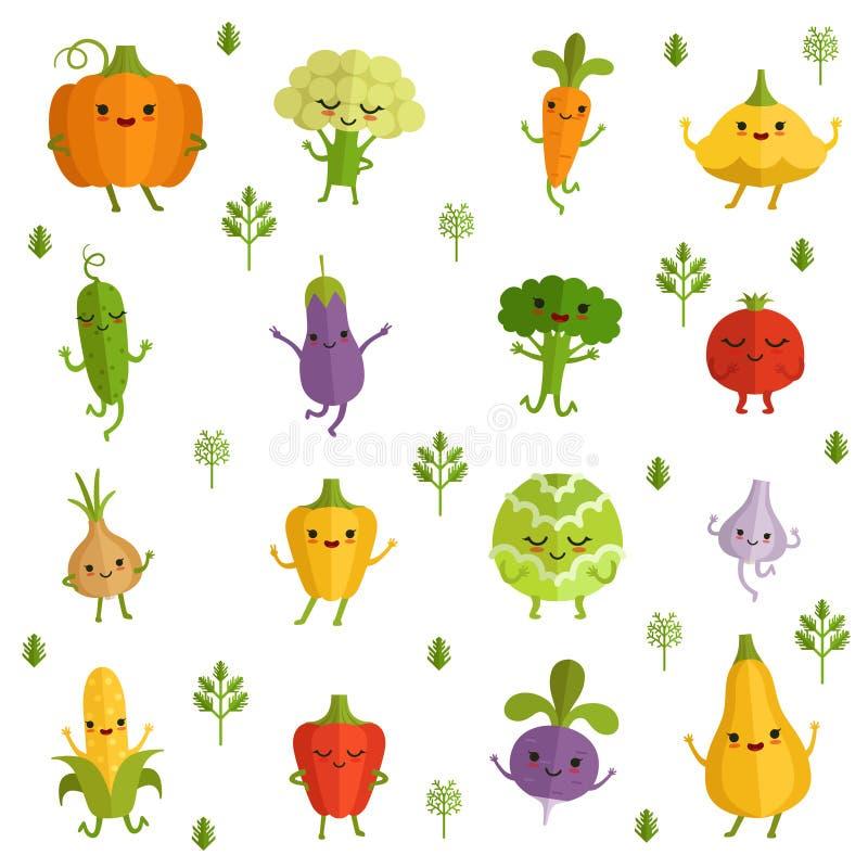 Grönsaktecken med roliga sinnesrörelser Vektorillustration i komisk stil royaltyfri illustrationer