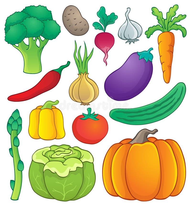 Grönsaktemasamling 1 vektor illustrationer