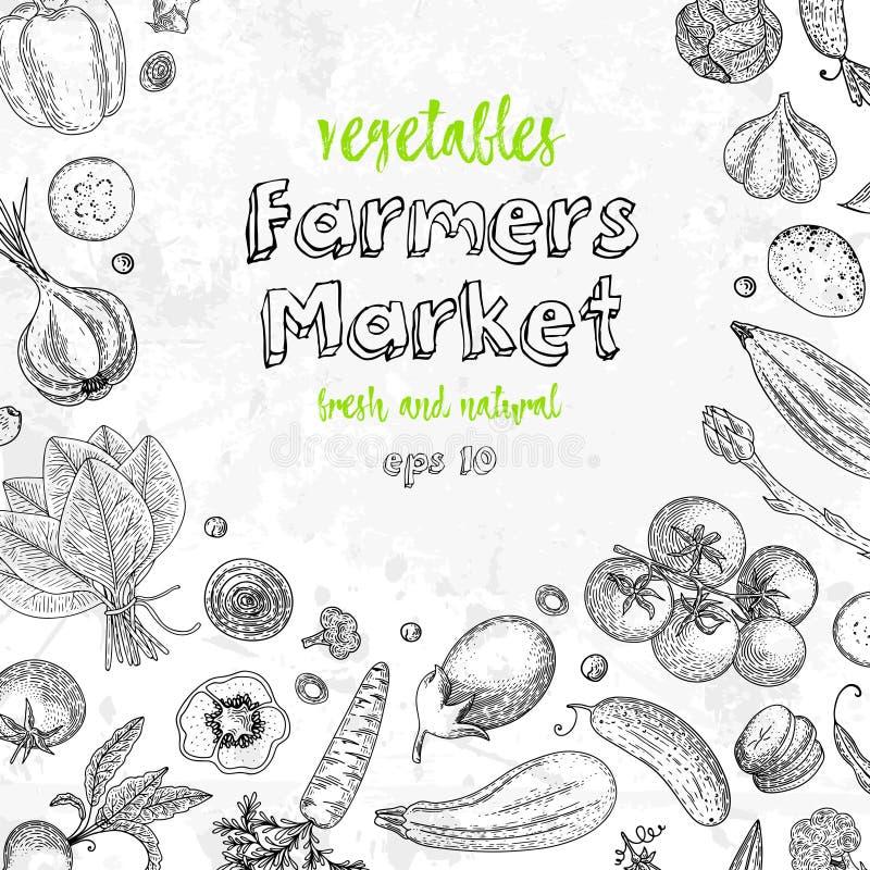 Grönsakvektorsammansättning med gurkan, tomat, peppar, aubergine, potatis, ärtor, morot, broccoli sund mat vektor illustrationer
