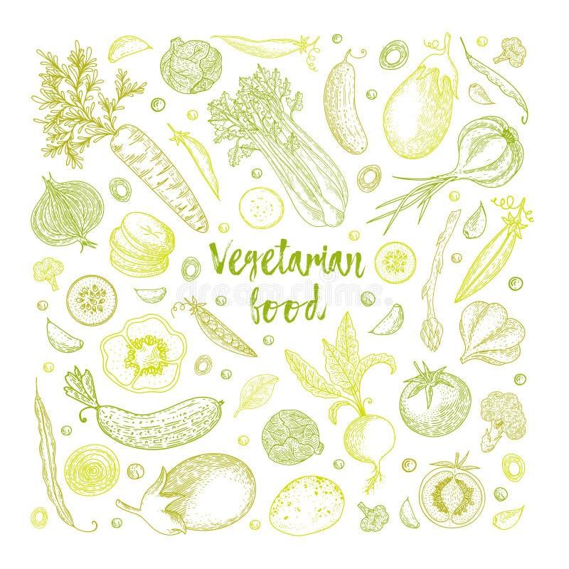 Grönsakvektorsammansättning med gurkan, tomat, peppar, aubergine, potatis, ärtor, morot, broccoli sund mat stock illustrationer