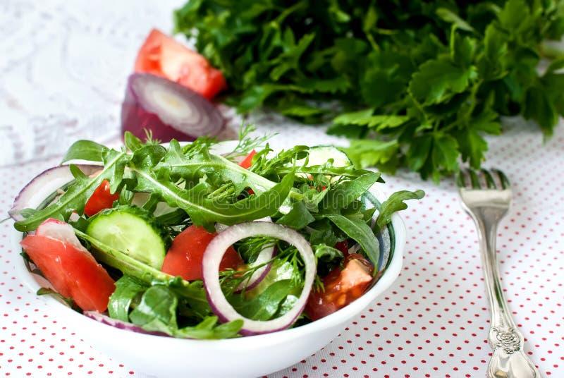 Grönsallatblandning av rukolly, tomater, gurkor med cirklar av rött på royaltyfri bild