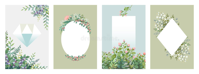 Grönskaaffischer Moderiktiga blom- ramar, gränser av gröna sidor och filialer, tomma gifta sig kort Vektorinbjudan royaltyfri illustrationer