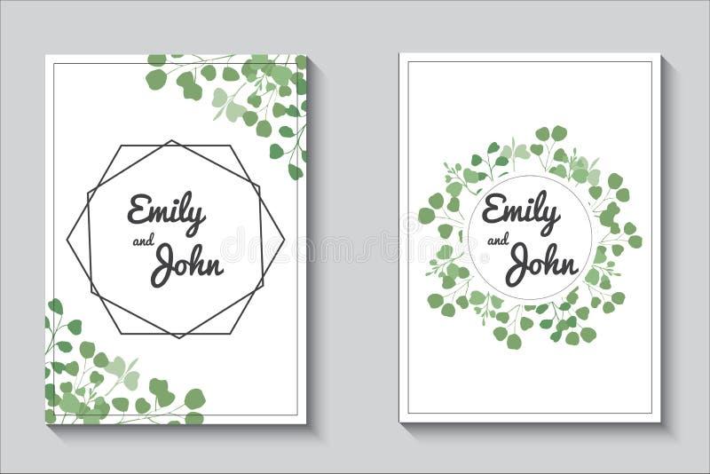 Grönskakort, uppsättning för eucalypthusbröllopinbjudan stock illustrationer