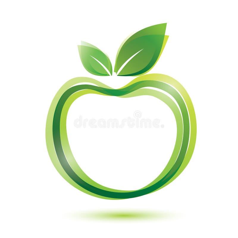 Grönt äpple logo-som symbol stock illustrationer
