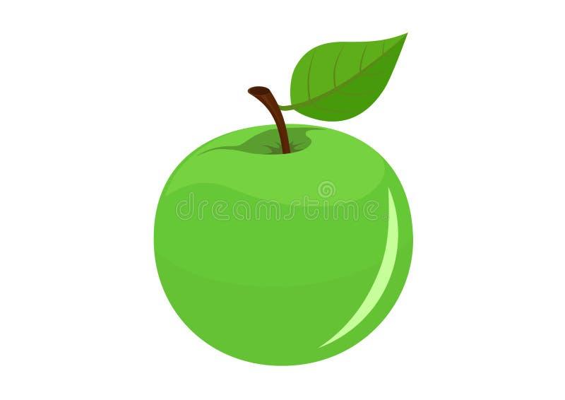 Grönt äpple med blad isolerad bild av frukt royaltyfri illustrationer
