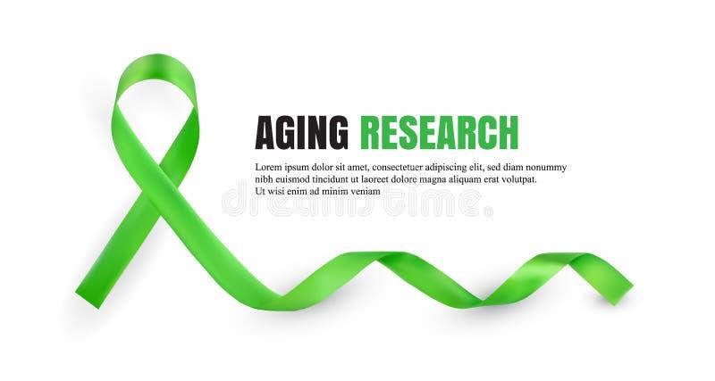 Grönt åldras symboliskt band för forskningmedvetenhet vektor illustrationer