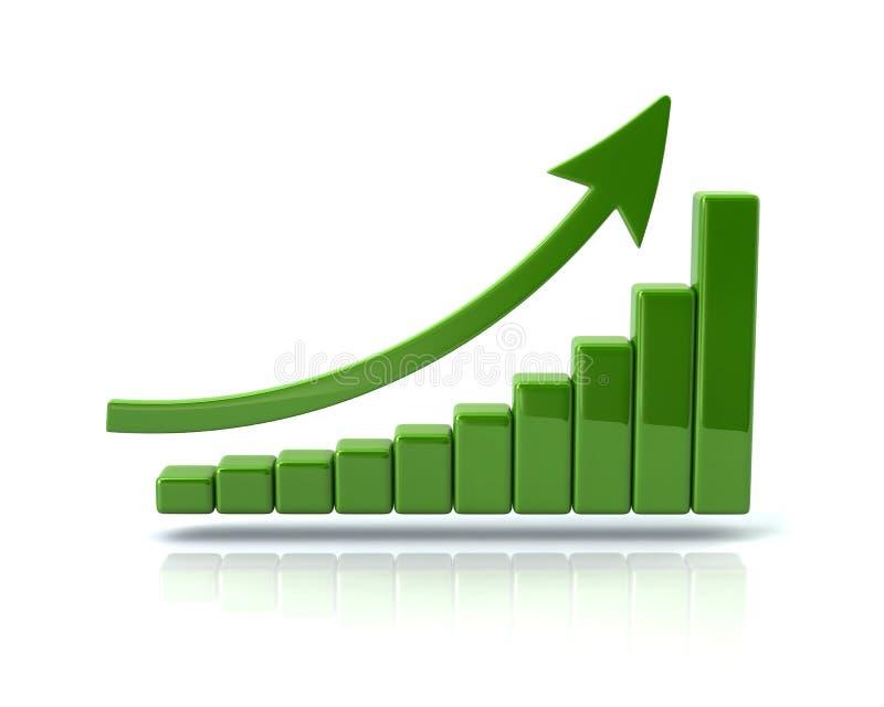 Grönt affärstillväxtdiagram stock illustrationer