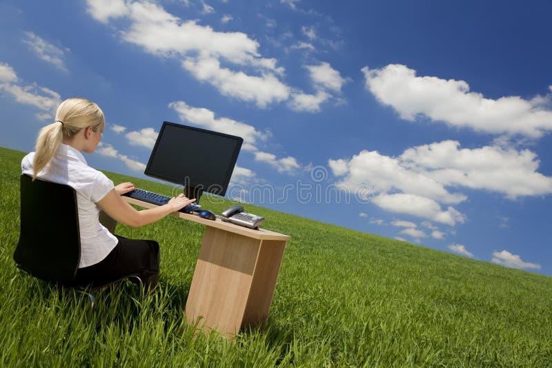 grönt använda för affärskvinnadatorfält arkivfoton