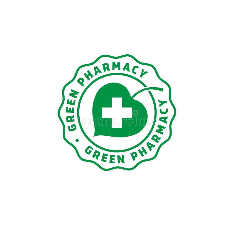 Grönt apotek Mediciner från växter Grönt blad och ett kors vektor illustrationer