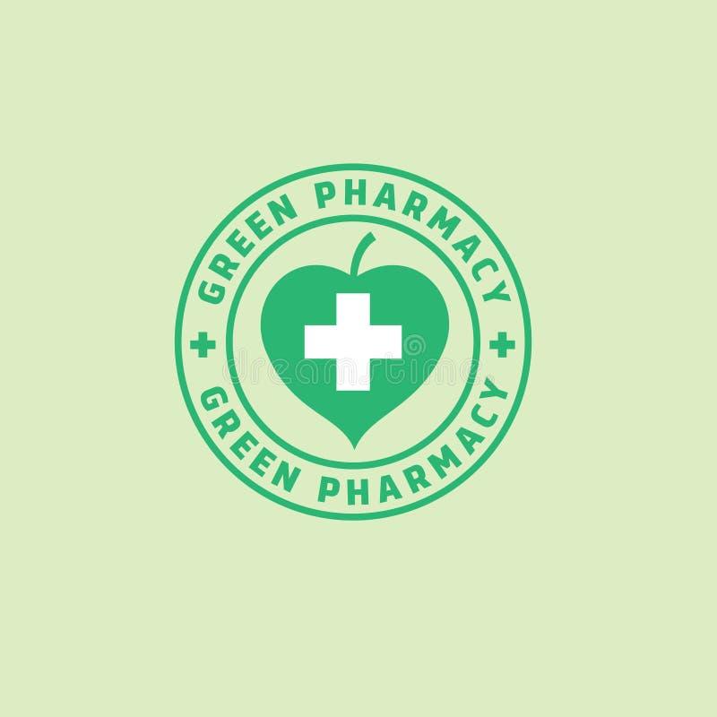 Grönt apotek Mediciner från växter Grönt blad och ett kors stock illustrationer