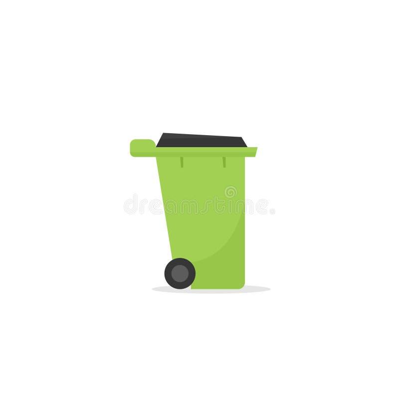 Grönt avskrädefack stock illustrationer