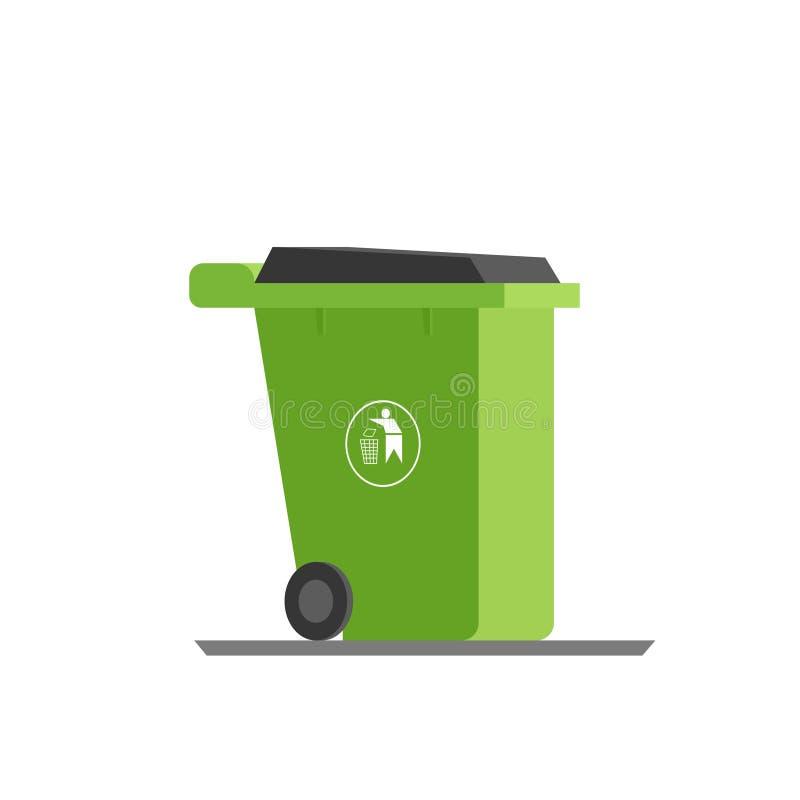 Grönt avskrädefack royaltyfri illustrationer