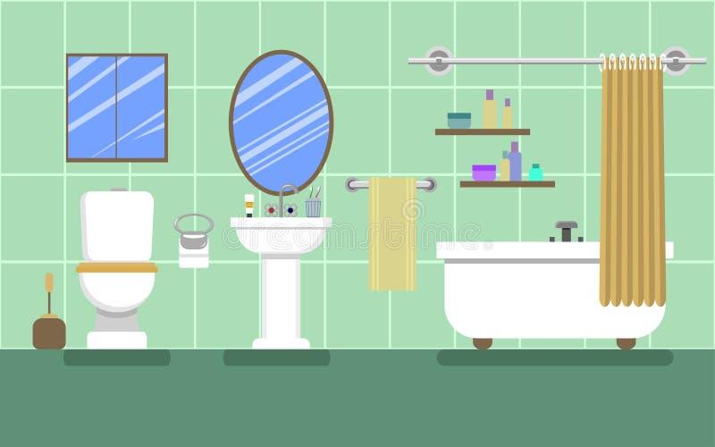 Grönt badrum med möblemang royaltyfri illustrationer