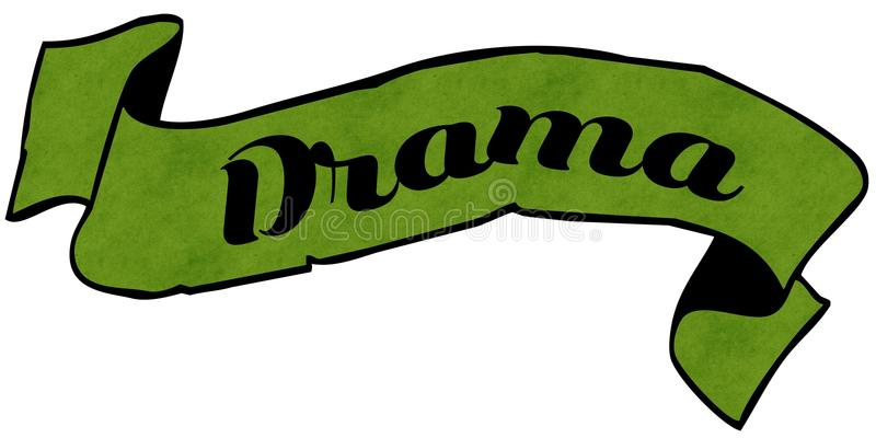 Grönt band för DRAMA stock illustrationer