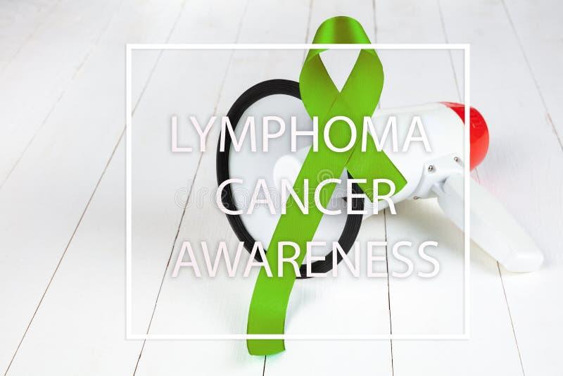 Grönt band för limefrukt för lymfkörtelcancercancer och mental hälsamedvetenhet royaltyfri bild