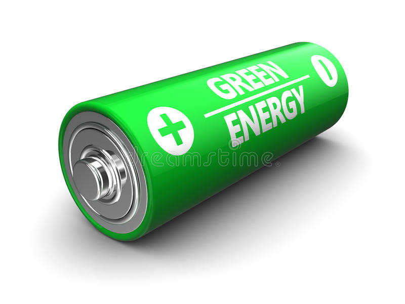 Grönt batteri vektor illustrationer