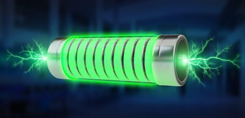 Grönt batteri med tolkningen för blixtar 3D vektor illustrationer