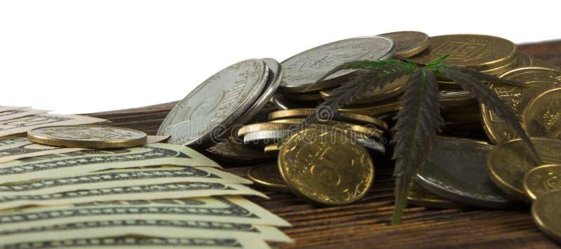 Grönt blad av cannabis, marijuana, Ganja, hampa på en räkning 100 US dollar äganderätt för home tangent för affärsidé som guld- n royaltyfria bilder