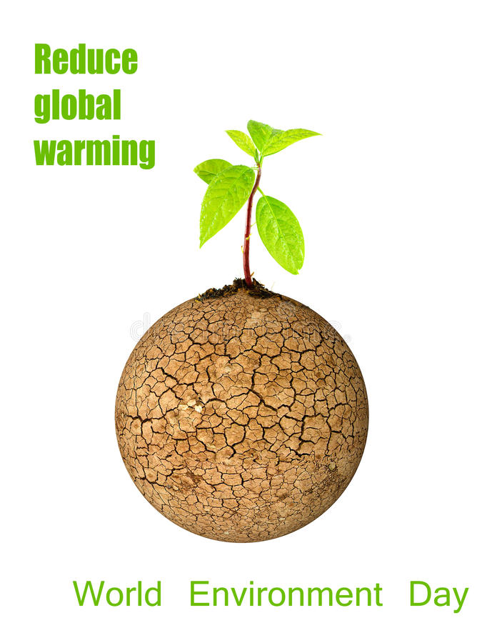 Grönt blad för träd på sprucken dag för miljö för jordbegreppsvärld royaltyfri illustrationer