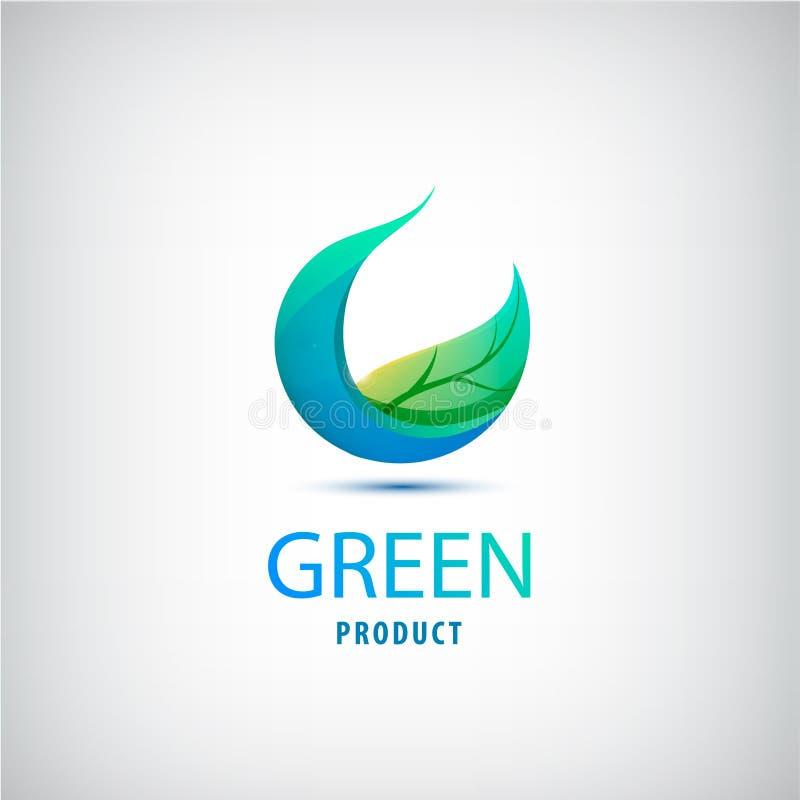 Grönt blad för vektor, natur, organisk symbol, cirkellogo royaltyfri illustrationer