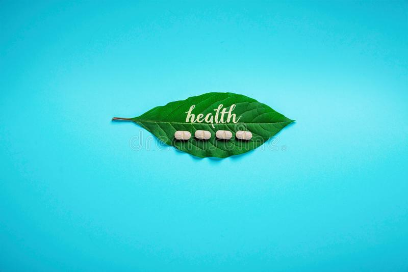 Grönt blad med inskriften av hälsa och tillägg, växt- preventivpillerar, på en blå bakgrund minimalism arkivfoto