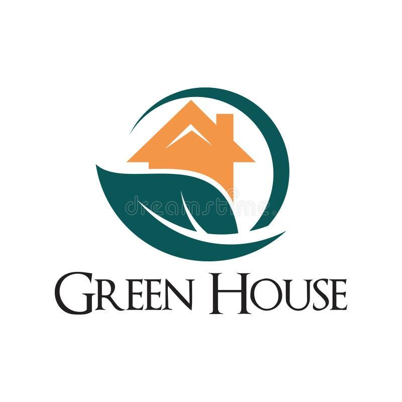 Grönt bladhushem Real Estate Logo Template stock illustrationer