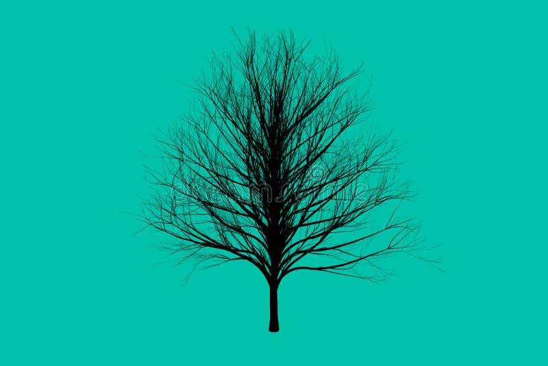 Grönt dö designen för konst för trädfärgkonturer stock illustrationer