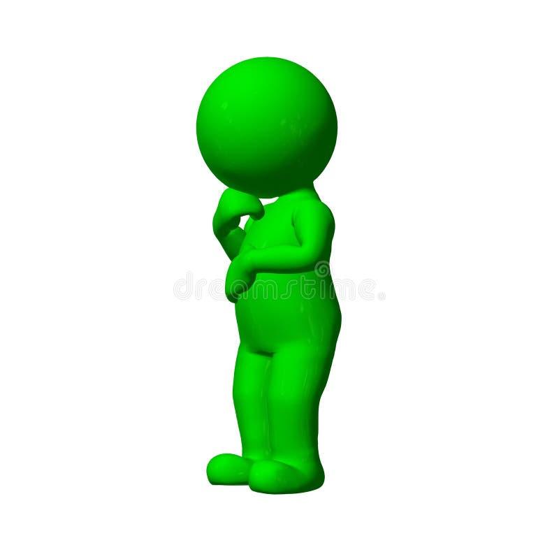 Grönt 3D folk - funderare - på vit bakgrund royaltyfri illustrationer