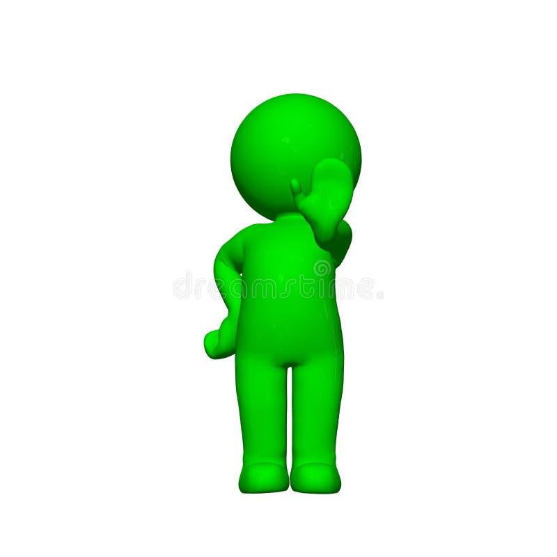 Grönt 3D folk - stopp - på vit bakgrund royaltyfri illustrationer