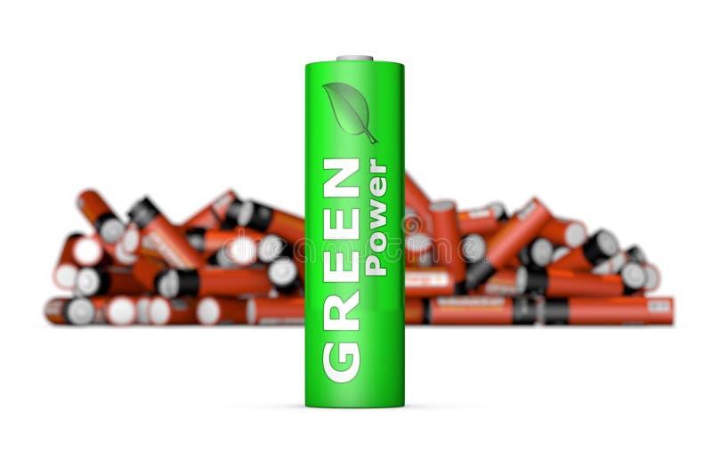 Grönt Eco batteri framme stock illustrationer