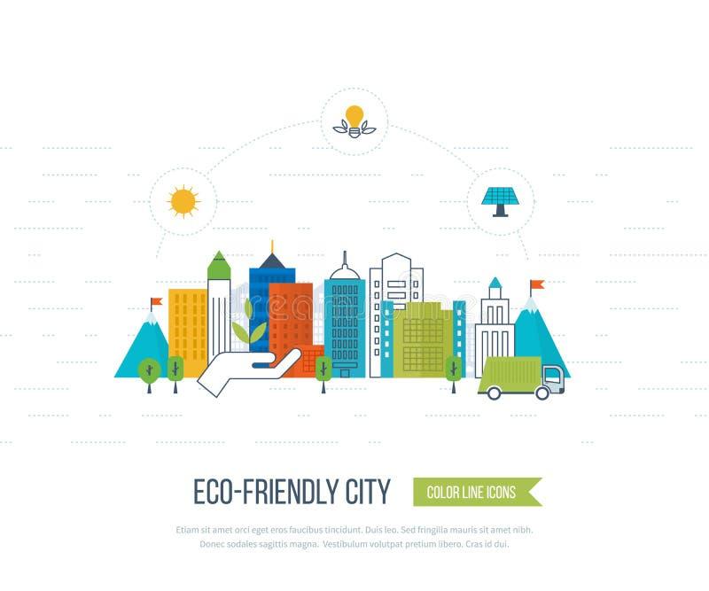Grönt eco- och eco-vänskapsmatch stadsbegrepp royaltyfri illustrationer