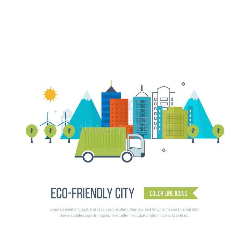 Grönt eco- och eco-vänskapsmatch stadsbegrepp vektor illustrationer