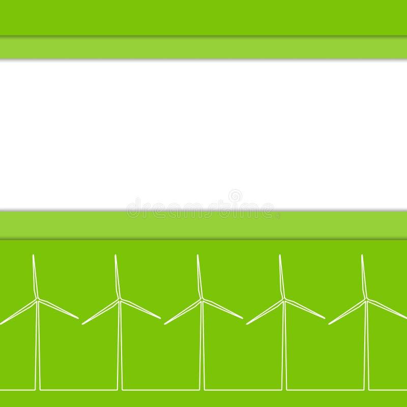Grönt ecobegrepp - vindenergi Vindgeneratorer, vektorillustration Alternativ maktenergiteknologi stock illustrationer