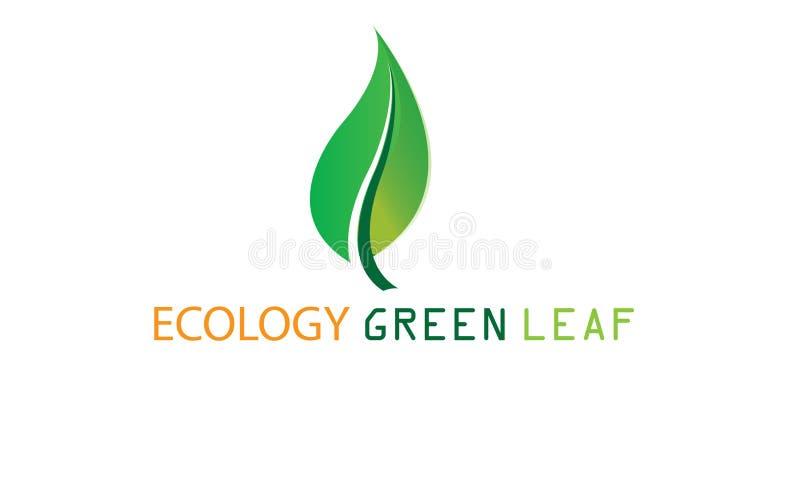 Grönt ekologiblad Logo Template - grön ny vård- hälsovård för organisk mat för Eco logotyp naturlig vektor illustrationer