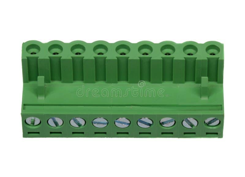 Grönt elektriskt kontaktdon arkivfoton