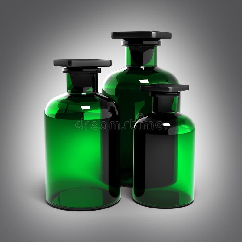 Grönt exponeringsglas på grå lutningbakgrund 3d stock illustrationer