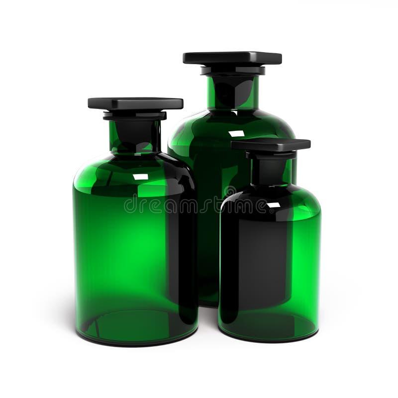 Grönt exponeringsglas som isoleras på vit bakgrund 3d stock illustrationer