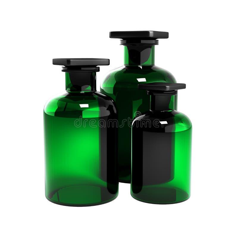 Grönt exponeringsglas utan skuggor som isoleras på vit bakgrund 3d royaltyfri illustrationer