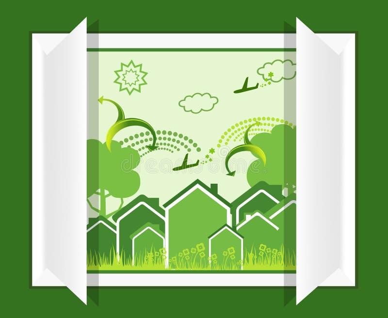 grönt fönster för eco vektor illustrationer