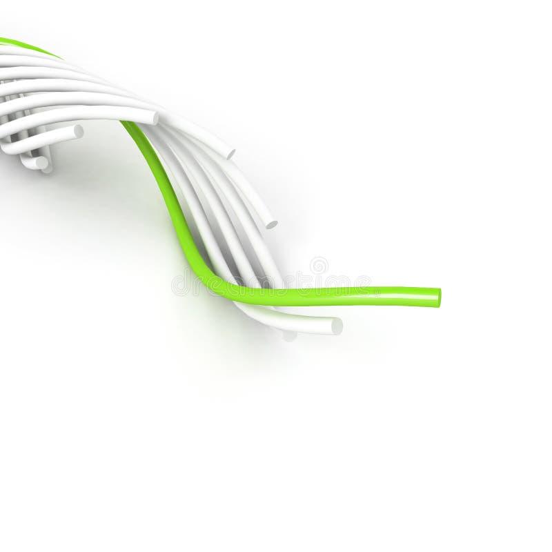 grönt föra för kabel över white stock illustrationer