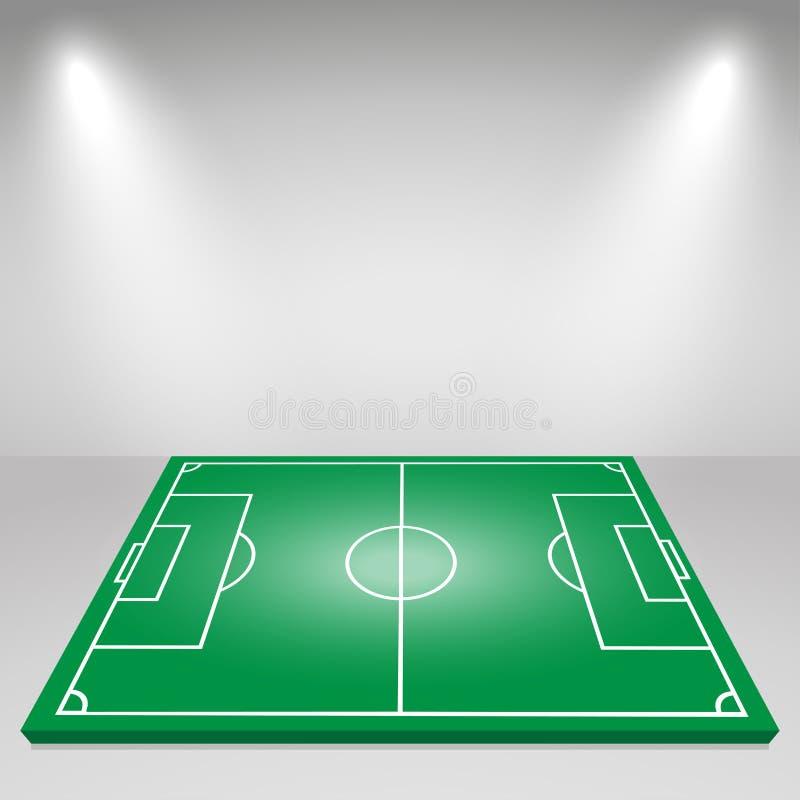 Grönt fotbollfält, flodljus som tänder Det kan vara nödvändigt för kapacitet av designarbete vektor illustrationer