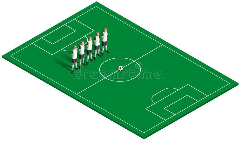 Grönt fotbollfält, fotbollboll och lagspelare royaltyfri illustrationer