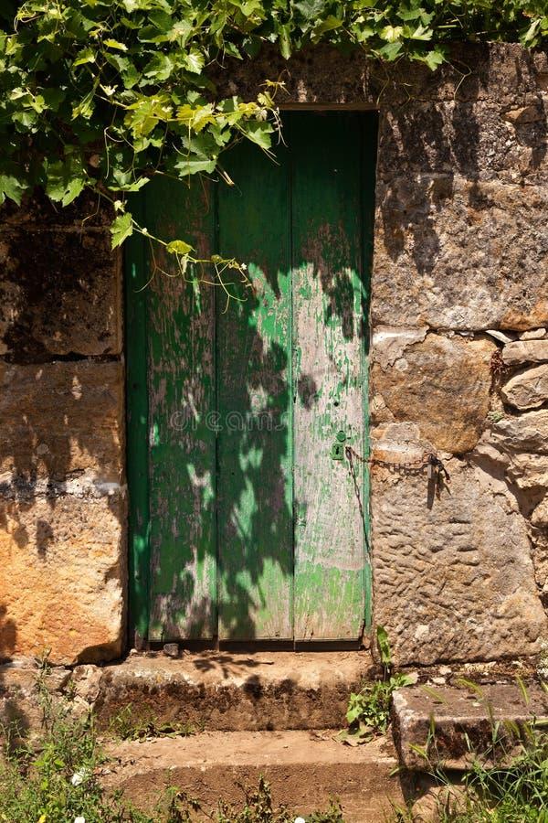 grönt gammalt för dörr royaltyfria bilder