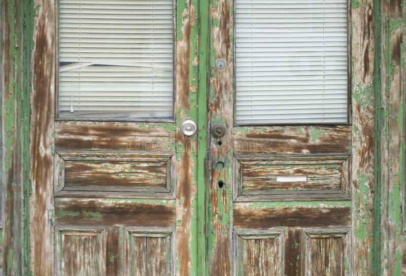 grönt gammalt för dörr royaltyfri fotografi