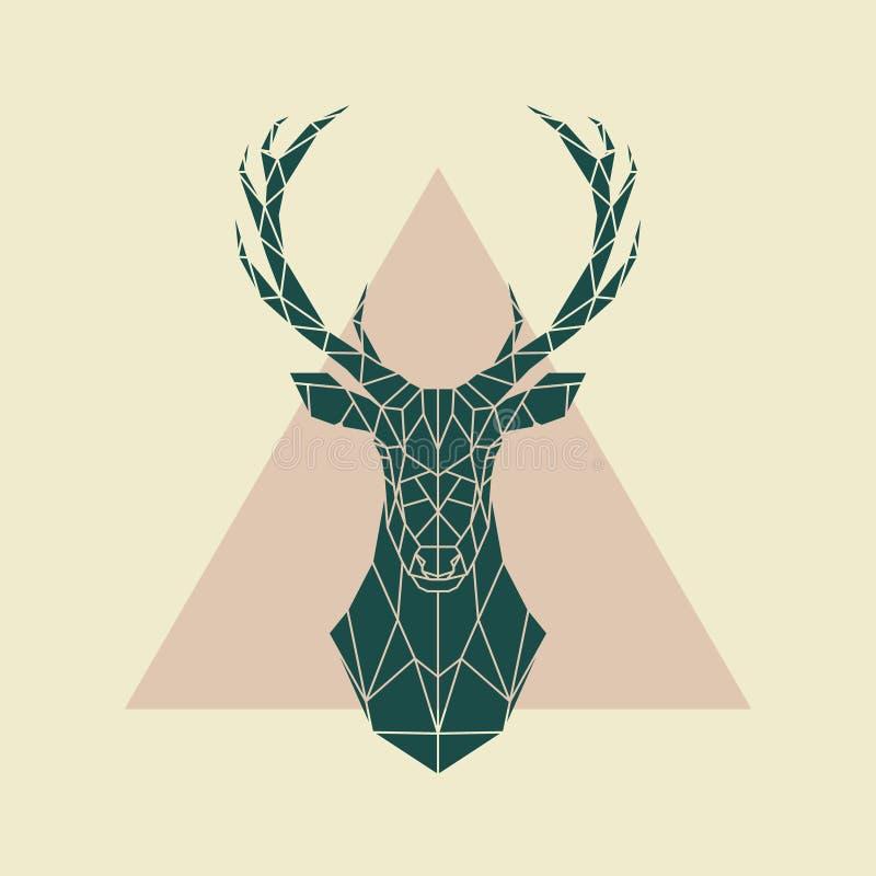 Grönt geometriskt tecken för hjortar royaltyfri illustrationer