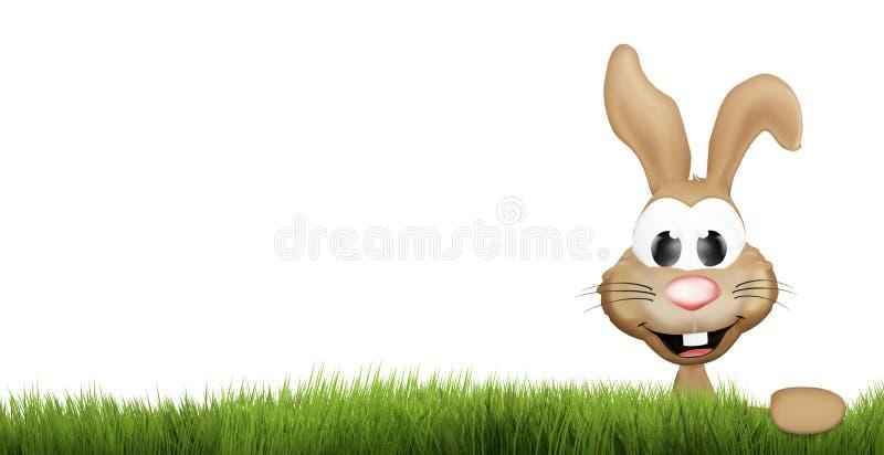 Grönt gräs för påskkanin lyckliga easter 3d framför stock illustrationer