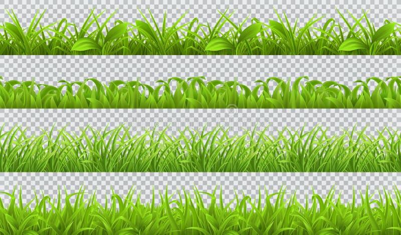 Grönt gräs för vår, sömlös modell uppsättning för vektor 3d vektor illustrationer