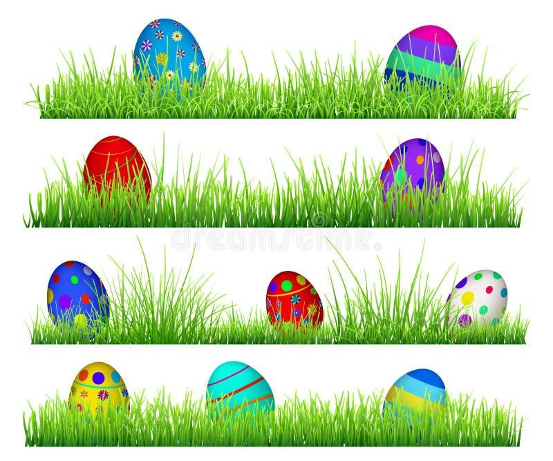 Grönt gräs med påskägg vektor illustrationer